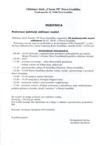 20. međunarodni susret oldtimera 04.07.2020. Nova Gradiška